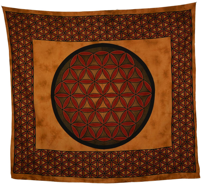 tagesdecke wandbehang blume des lebens mandalatuch indien. Black Bedroom Furniture Sets. Home Design Ideas