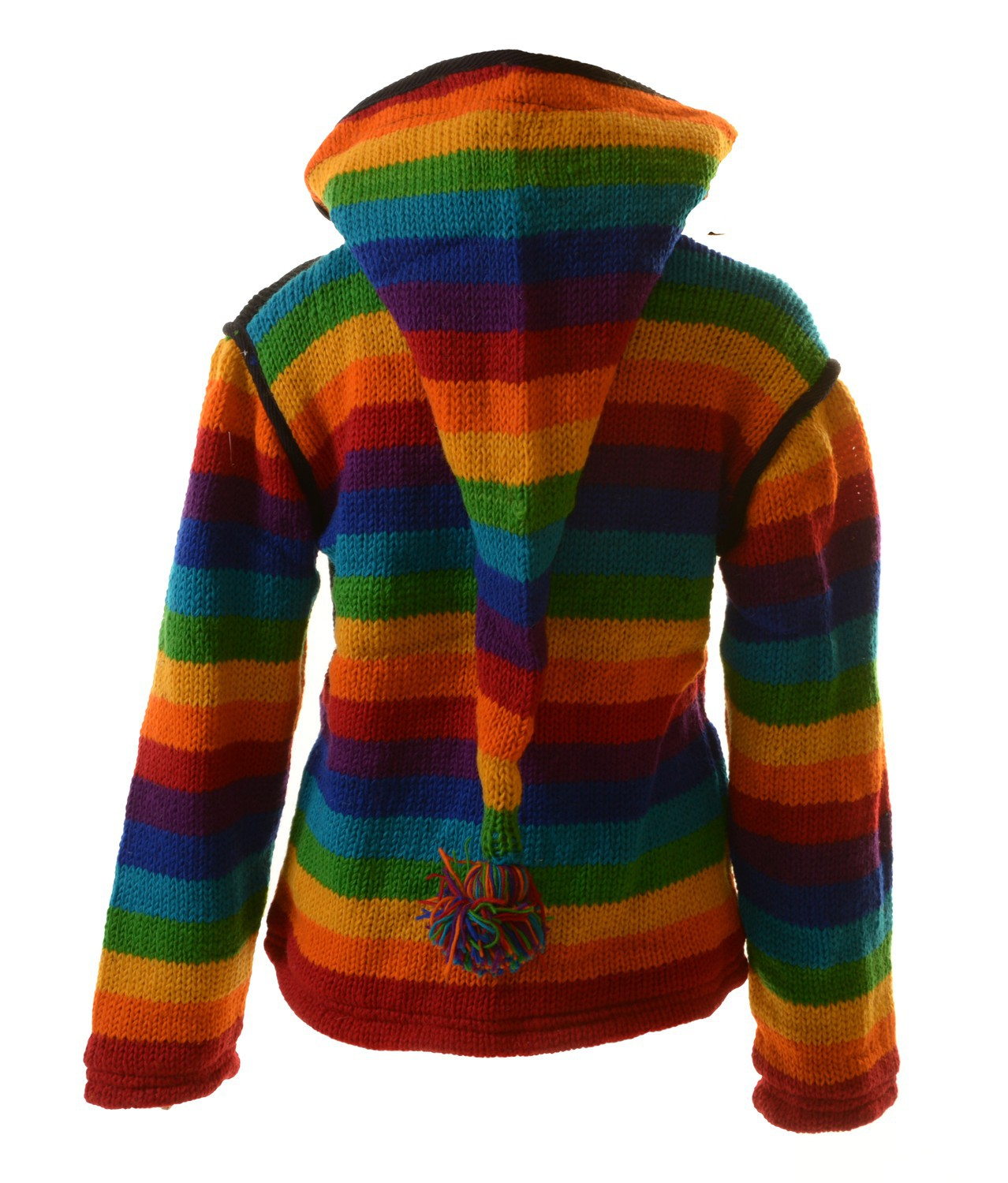 damen regenbogen strickjacke goa wolle jacke mit fleecefutter und zipfelkapuze ebay. Black Bedroom Furniture Sets. Home Design Ideas