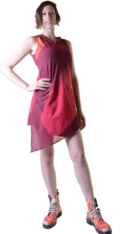 Minikleid Tunika Hippie Goa Sommerkleid mit Zipfelkapuze