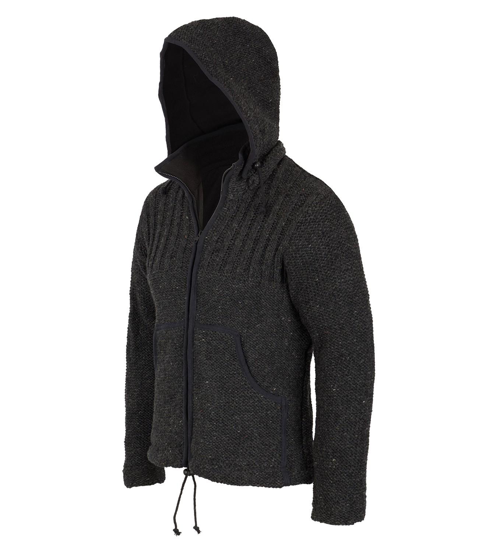 herren strickjacke wollejacke mit fleecefutter und abnehmbarer kapuze. Black Bedroom Furniture Sets. Home Design Ideas