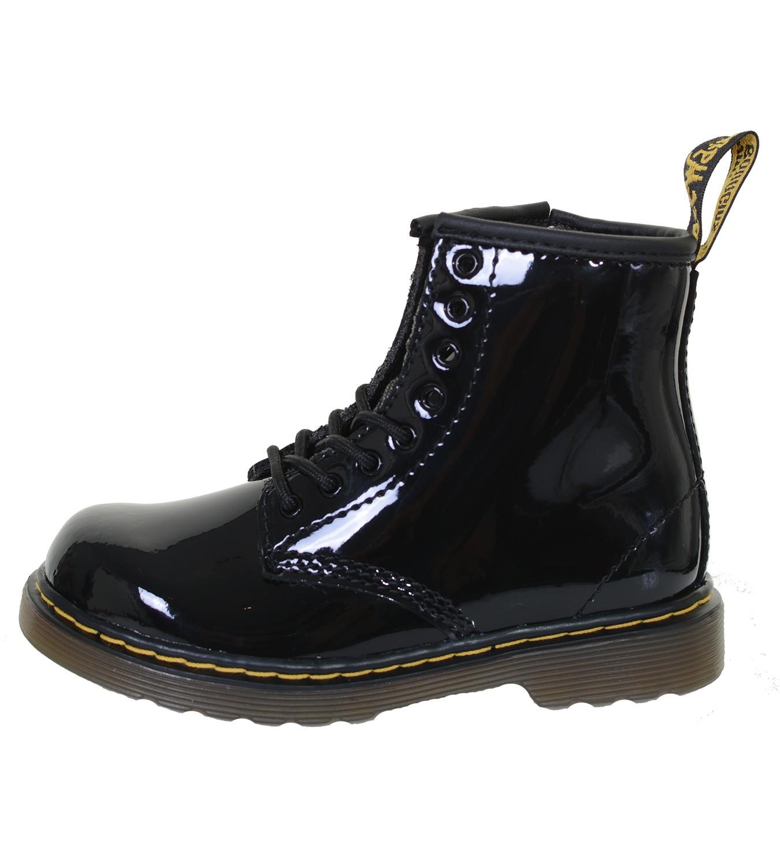 Docs für Kids - Kinder Dr. Martens 8 Loch Boot Schnürstiefelette Lack Patent Lamper -Black