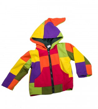 Funny Gnome Jacket with Hood in Blue and Rainbow Colors – Bild 3
