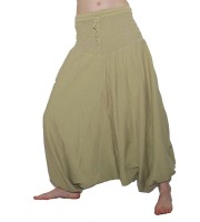 2in1 Overall Aladinhose Pluderhose Haremshose Hippie Goa Psy Catsuit beige