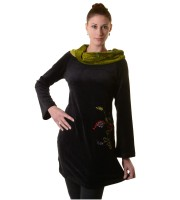 Boho Tunic/Dress with Velvet Turtleneck