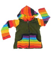 Kids Hippie Jacket with Funny Elfin Hood Rainbow Design