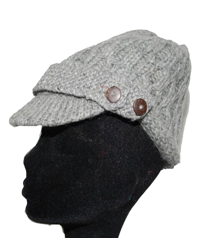 strickm tze m tze aus wolle mit schirm fleecefutter cap hellgrau. Black Bedroom Furniture Sets. Home Design Ideas
