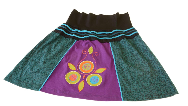 Patchwork Minirock Sommerrock Hippie Goa Rock Boho Tanzrock mehrfarbig mit Blumen