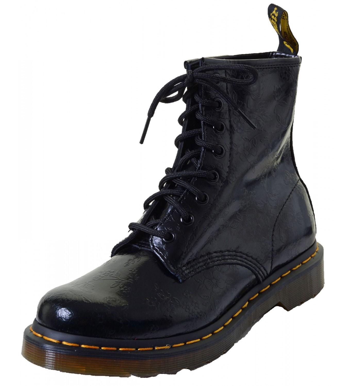 Dr. Martens 8 Loch Boots Damen Schnürstiefelette QQ Flowers schwarz